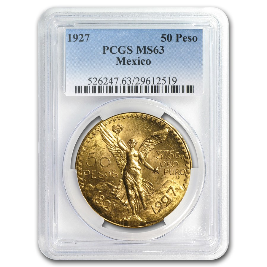 1927 Mexico Gold 50 Pesos MS-63 PCGS