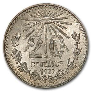 1927 Mexico Silver 20 Centavos BU Details