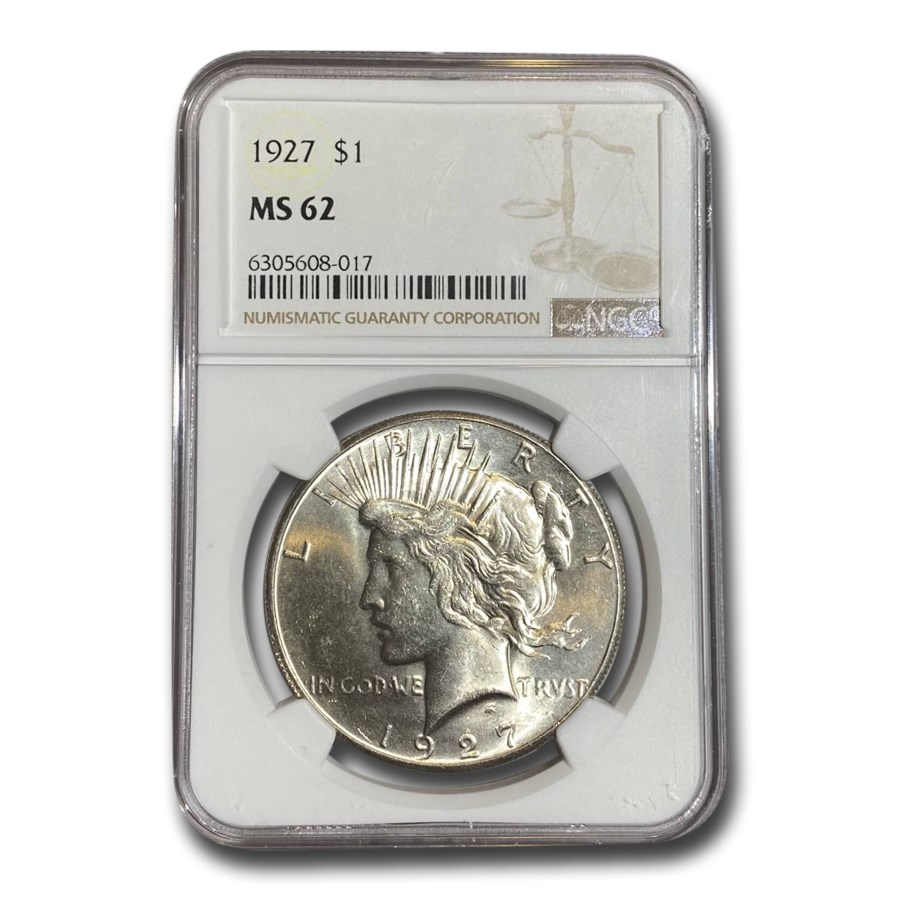 1927 Peace Dollar MS-62 NGC