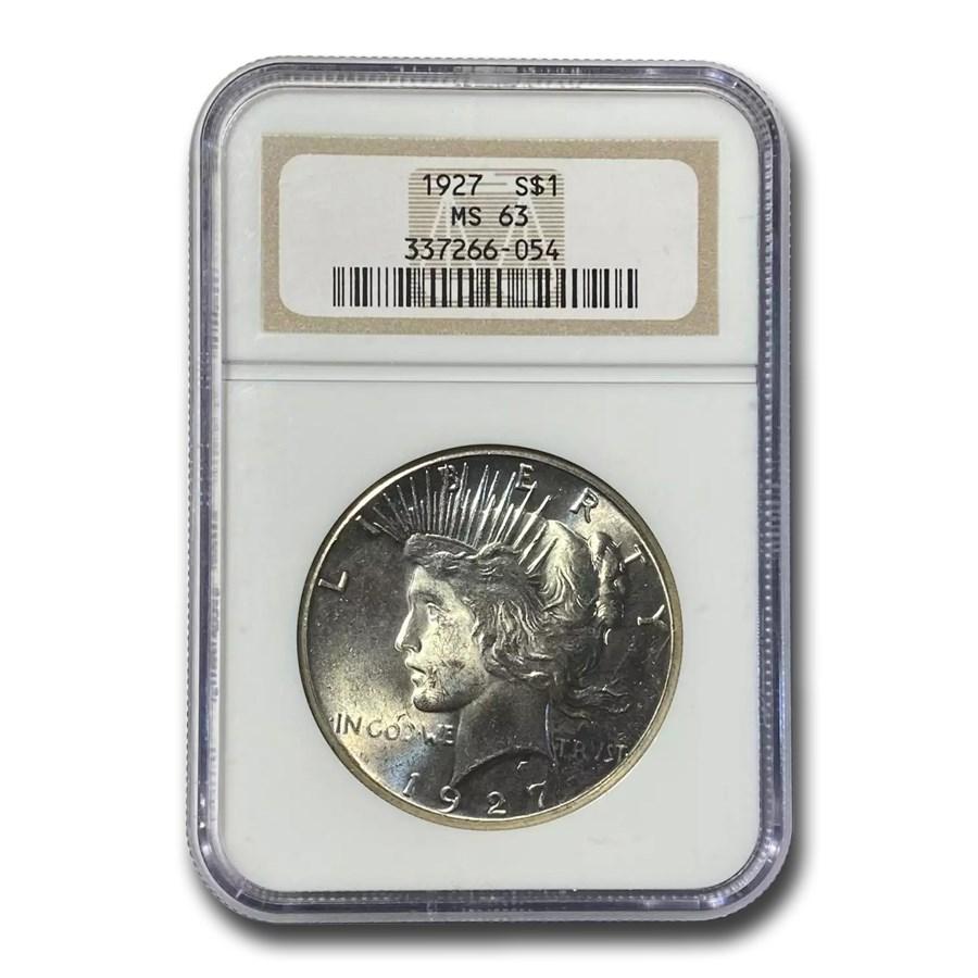1927 Peace Dollar MS-63 NGC