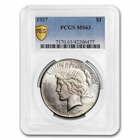1927 Peace Dollar MS-63 PCGS