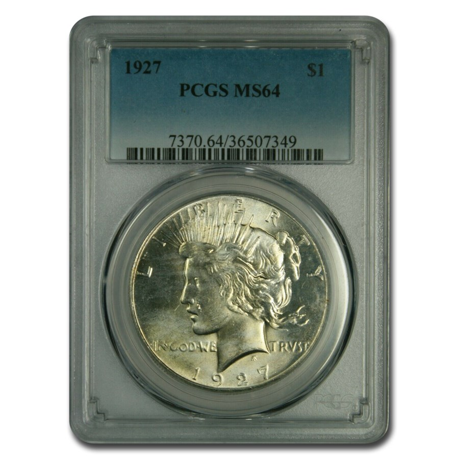 1927 Peace Dollar MS-64 PCGS