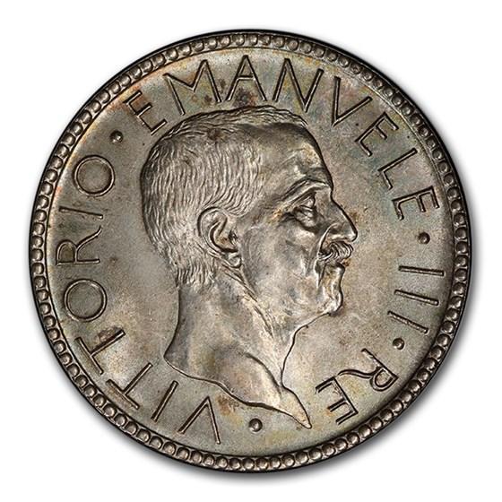1927-R Italy Silver 20 Lire Vittorio Emanuele III MS-64 PCGS