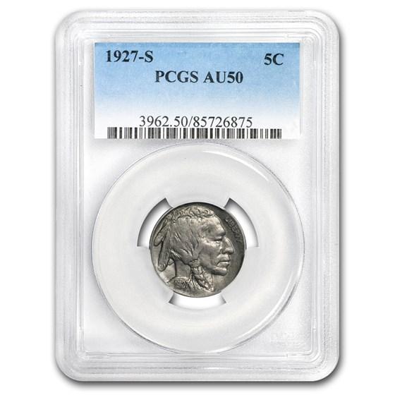 1927-S Buffalo Nickel AU-50 PCGS