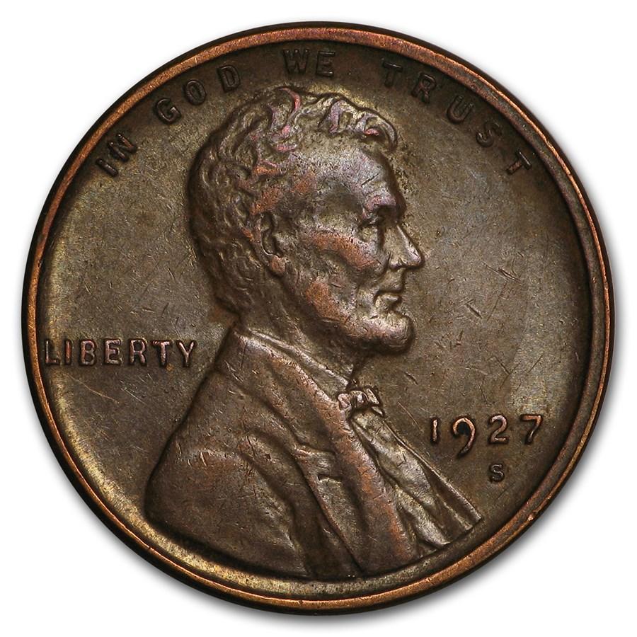 1927-S Lincoln Cent AU
