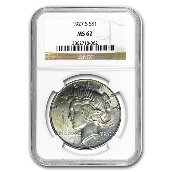 1927-S Peace Dollar MS-62 NGC