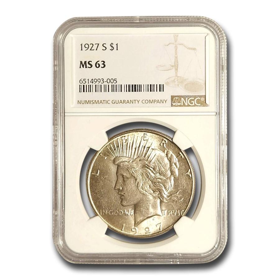 1927-S Peace Dollar MS-63 NGC