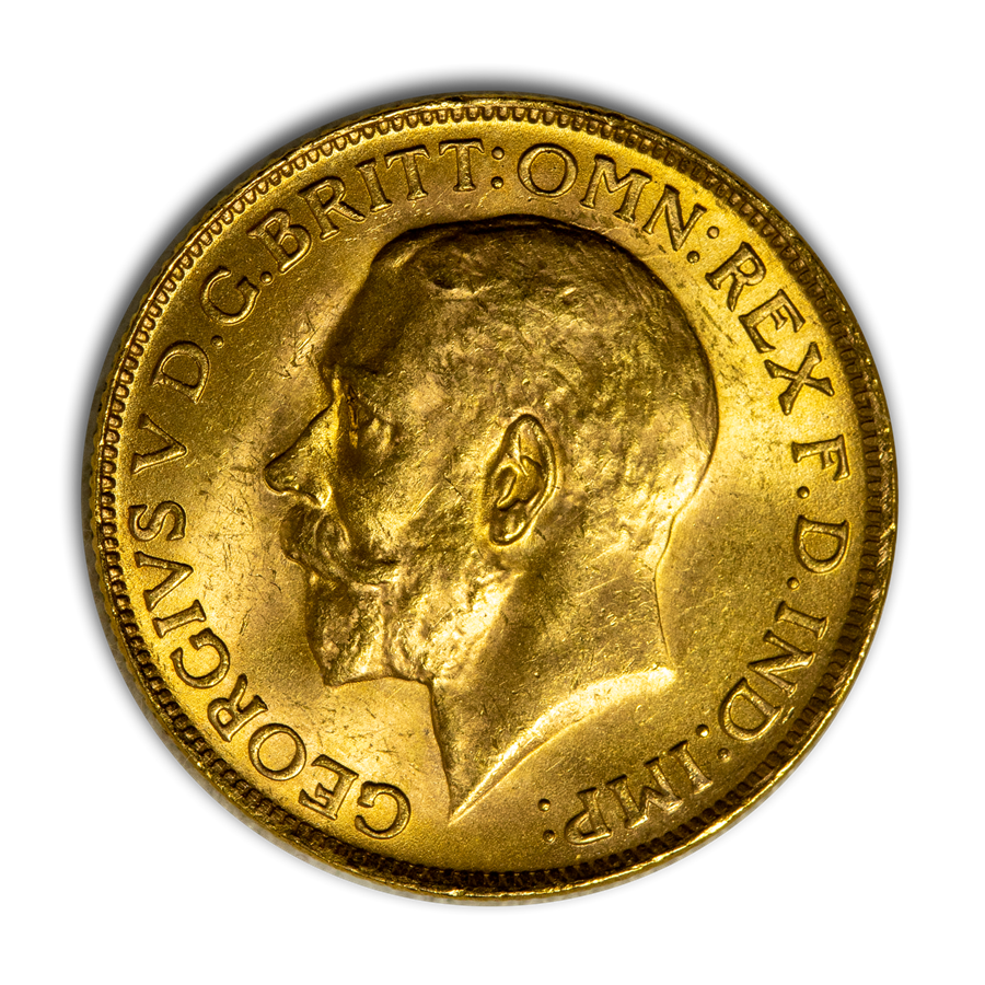 1927-SA South Africa Gold Sovereign George V BU (Large bust)