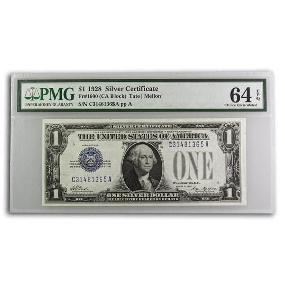 1928 $1.00 Silver Certificate Choice CU-64 EPQ PMG (Fr#1600)