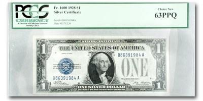 1928 $1.00 Silver Certificate Funny Back CU-63 PPQ PCGS