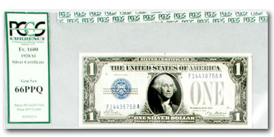 1928 $1.00 Silver Certificate Funny Back GEM NEW-66 PPQ PCGS