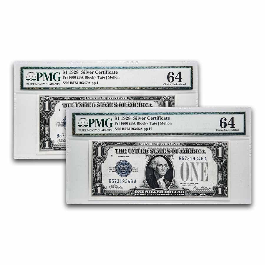 1928 $1.00 Silver Certificates Ch CU-64 PMG (Fr#1600) 2 Consec