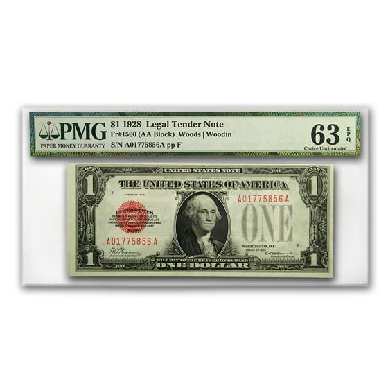 1928 $1.00 U.S. Note Legal Tender CU-63 EPQ PMG (Fr#1500)
