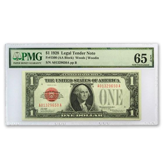 1928 $1.00 U.S. Note Legal Tender CU-65 EPQ PMG (Fr#1500)