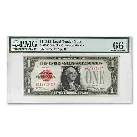 1928 $1.00 U.S. Note Legal Tender CU-66 EPQ PMG