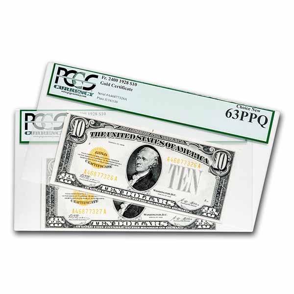 1928 $10 Gold Certificate CU-63/64 PPQ PCGS (Fr#2400)Consec Pair