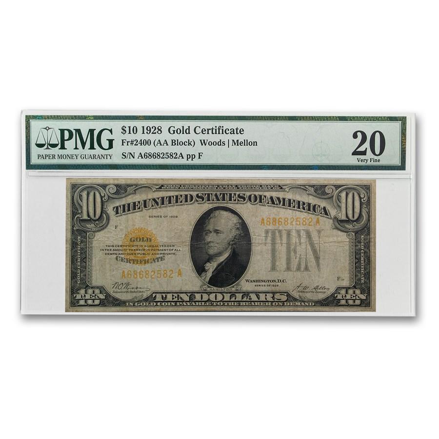 1928 $10 Gold Certificate VF-20 PMG