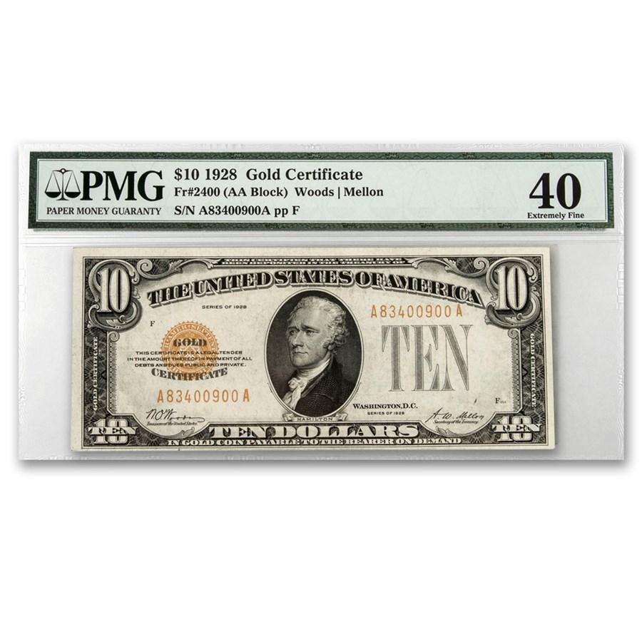 1928 $10 Gold Certificate XF-40 PMG (Fr#2400)