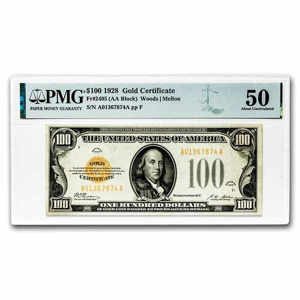 1928 $100 Gold Certificate AU-50 PMG (Fr#2405)