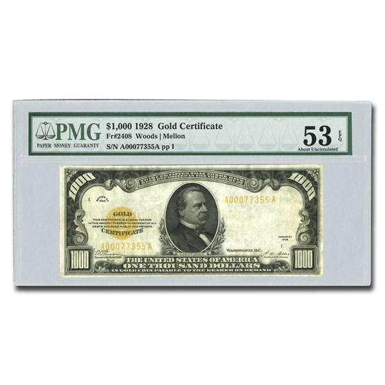1928 $1000 Gold Certificate AU-53 EPQ PMG