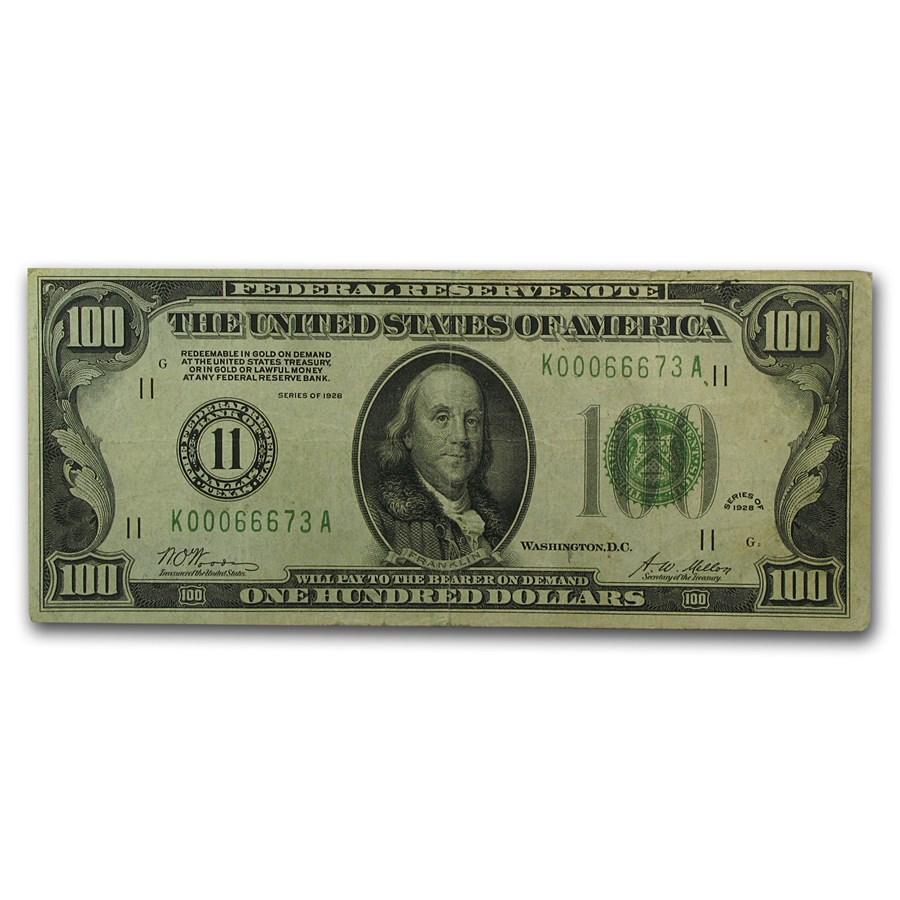 1928 (11-Dallas) $100 FRN VF (Dark Green)