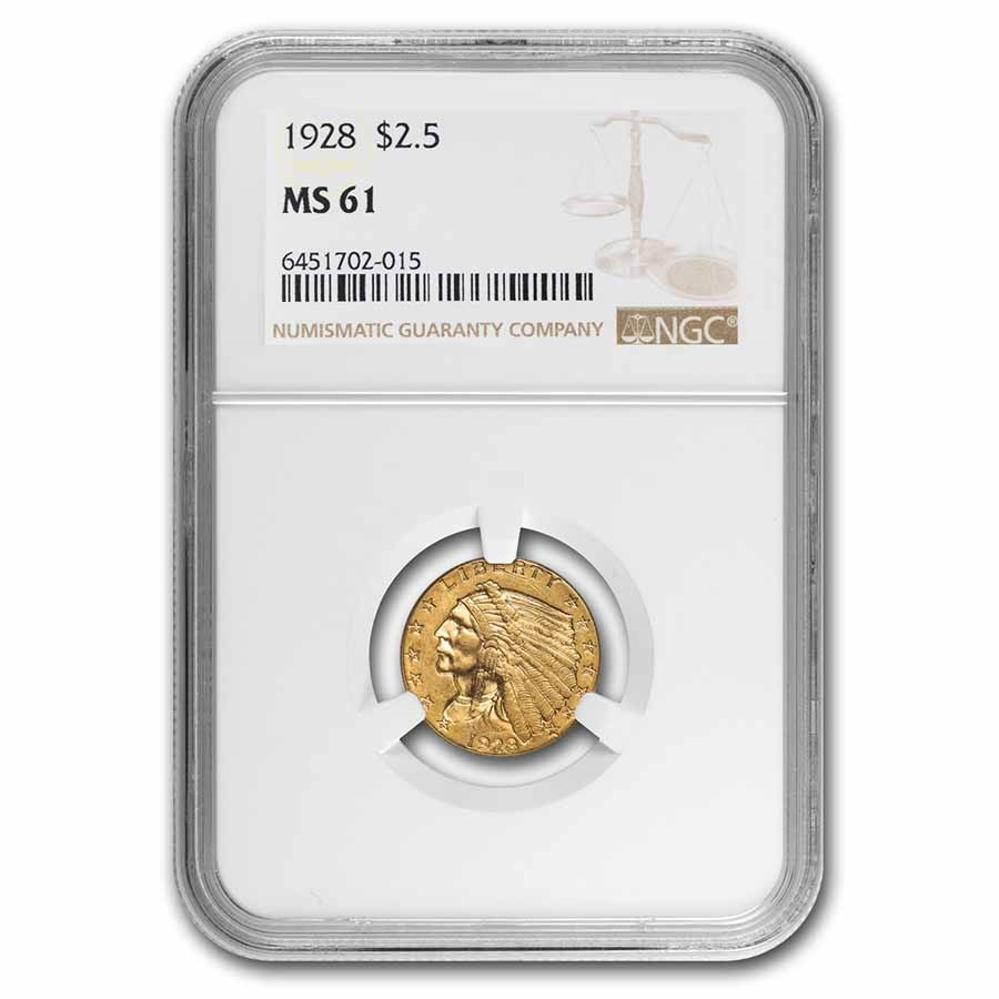 1928 $2.50 Indian Gold Quarter Eagle MS-61 NGC