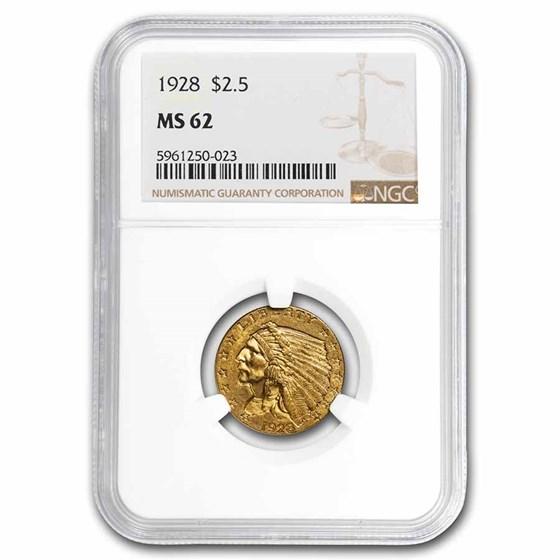 1928 $2.50 Indian Gold Quarter Eagle MS-62 NGC