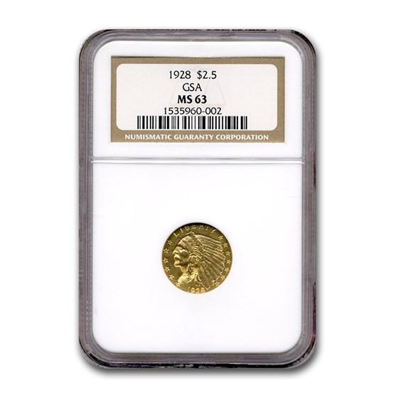 1928 $2.50 Indian Gold Quarter Eagle MS-63 NGC (GSA)