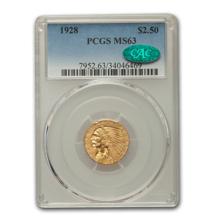 1928 $2.50 Indian Gold Quarter Eagle MS-63 PCGS CAC