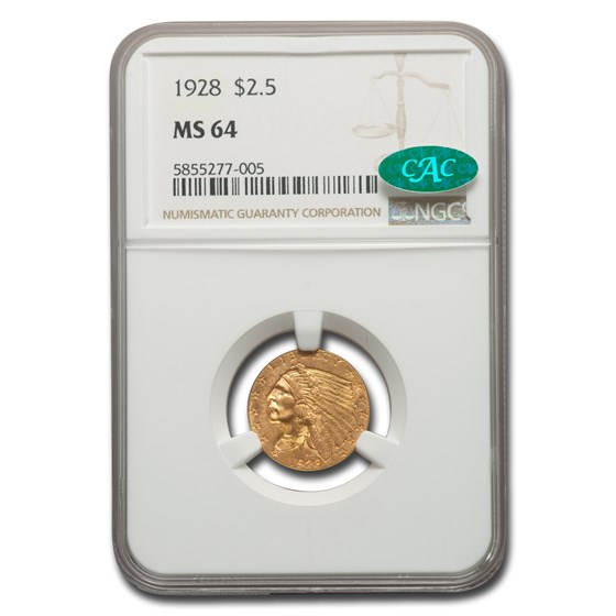1928 $2.50 Indian Gold Quarter Eagle MS-64 NGC CAC