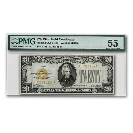 1928 $20 Gold Certificate AU-55 PMG
