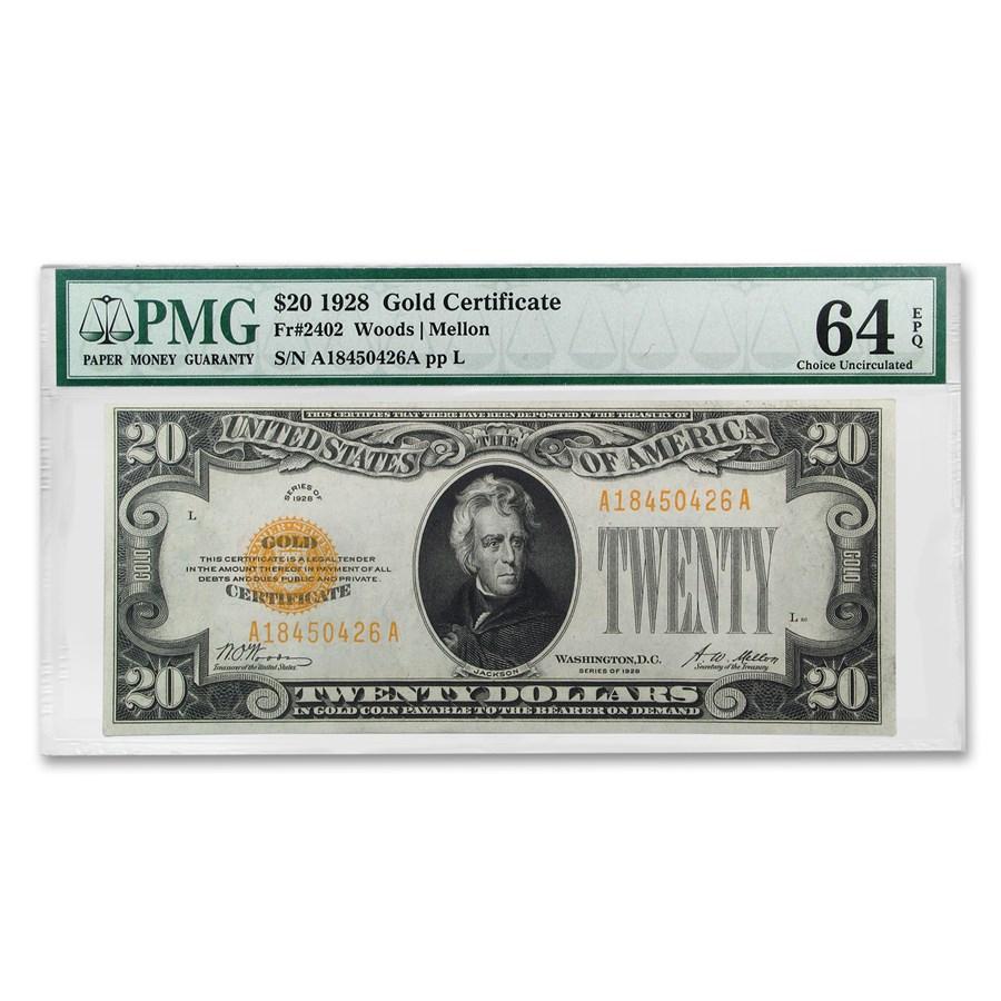 1928 $20 Gold Certificate CU-64 EPQ PMG (Fr#2402)