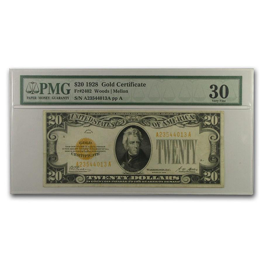 1928 $20 Gold Certificate VF-30 PMG