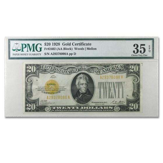 1928 $20 Gold Certificate VF-35 PMG