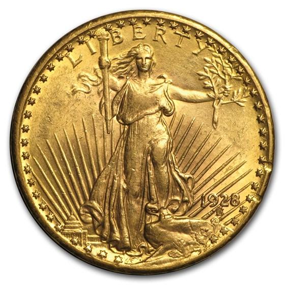 1928 $20 Saint-Gaudens Gold Double Eagle AU