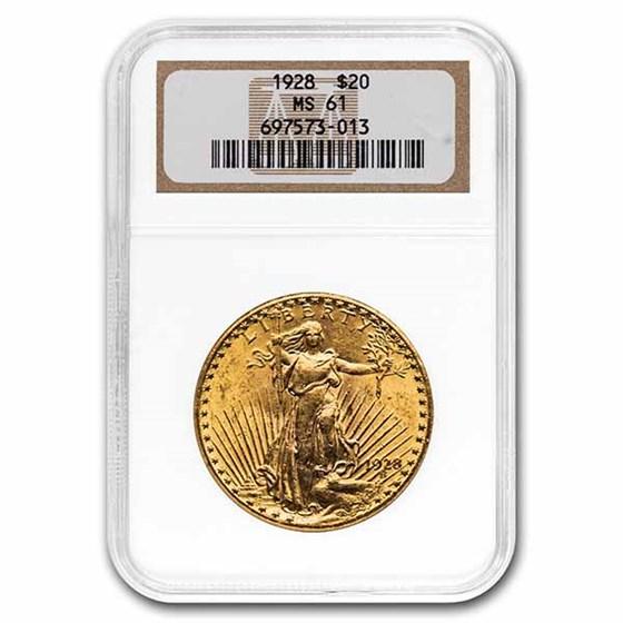 1928 $20 Saint-Gaudens Gold Double Eagle MS-61 NGC