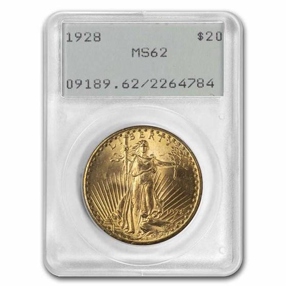 1928 $20 Saint-Gaudens Gold Double Eagle MS-62 PCGS (Rattler)