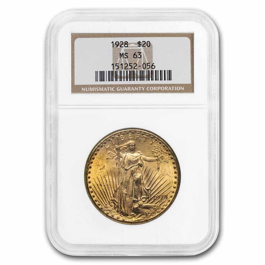 1928 $20 Saint-Gaudens Gold Double Eagle MS-63 NGC
