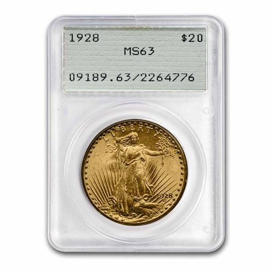 1928 $20 Saint-Gaudens Gold Double Eagle MS-63 PCGS (Rattler)