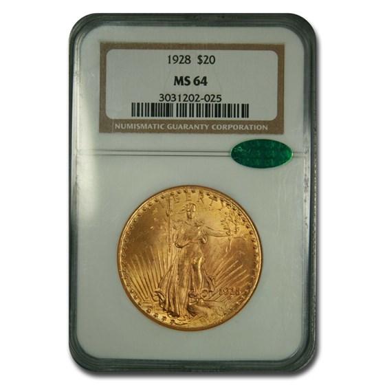 1928 $20 Saint-Gaudens Gold Double Eagle MS-64 NGC CAC