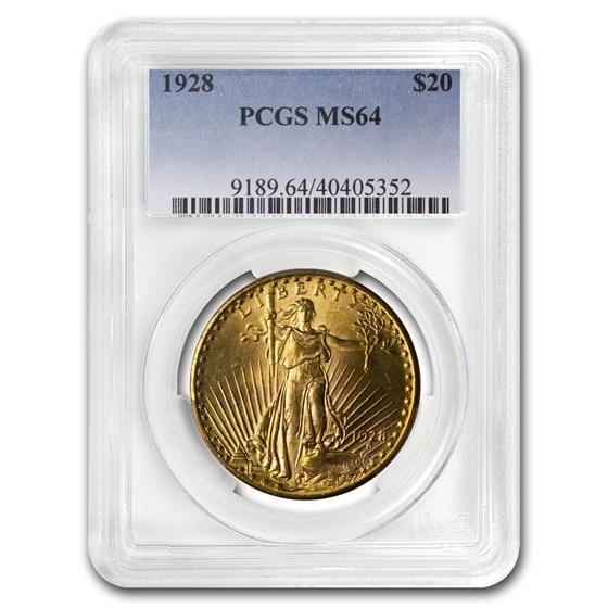 1928 $20 Saint-Gaudens Gold Double Eagle MS-64 PCGS