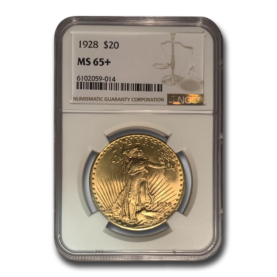 1928 $20 Saint-Gaudens Gold Double Eagle MS-65+ NGC