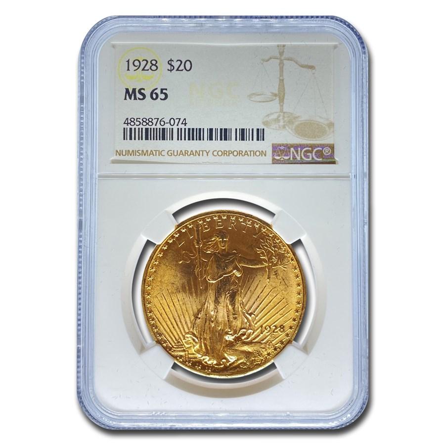 1928 $20 Saint-Gaudens Gold Double Eagle MS-65 NGC