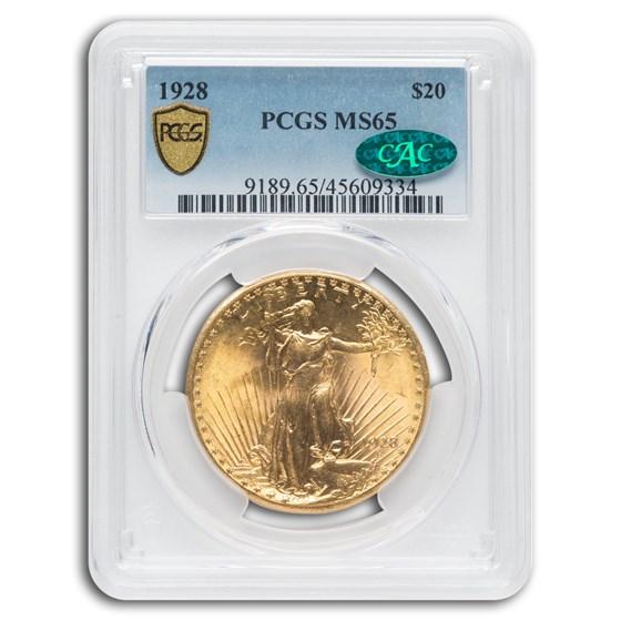 1928 $20 Saint-Gaudens Gold Double Eagle MS-65 PCGS CAC