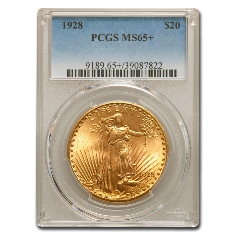 1928 $20 Saint-Gaudens Gold Double Eagle MS-65+ PCGS