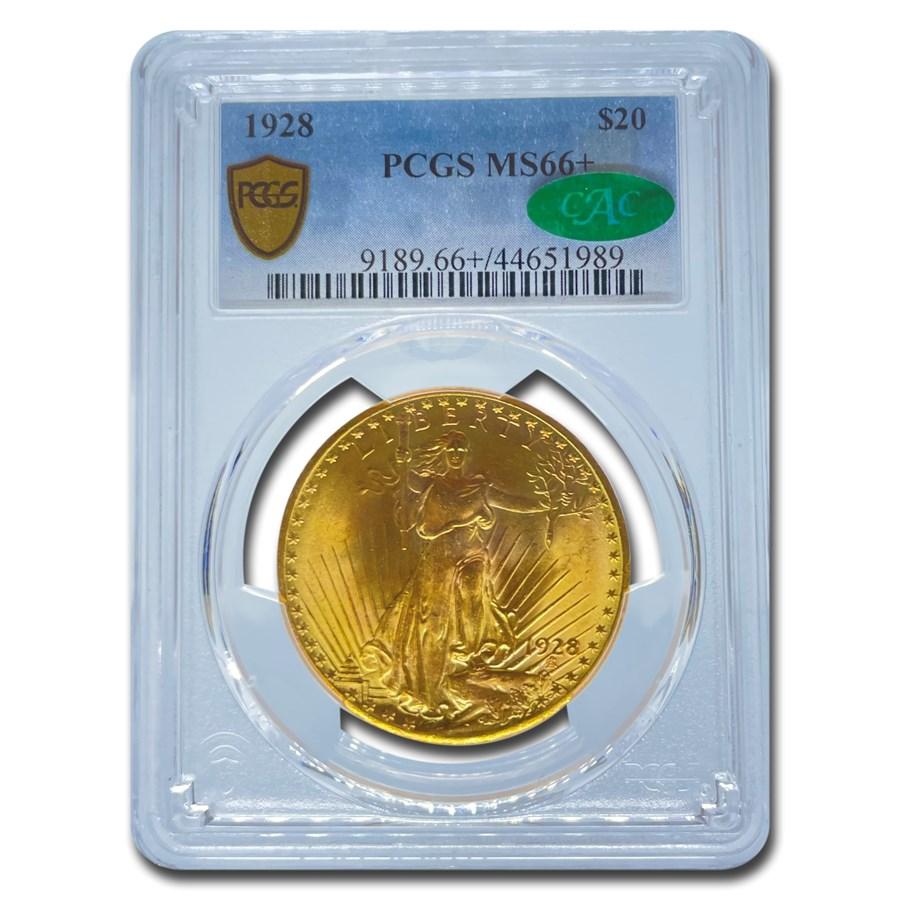 1928 $20 Saint-Gaudens Gold Double Eagle MS-66+ PCGS CAC