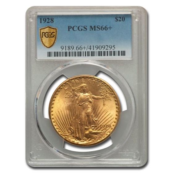 1928 $20 Saint-Gaudens Gold Double Eagle MS-66+ PCGS