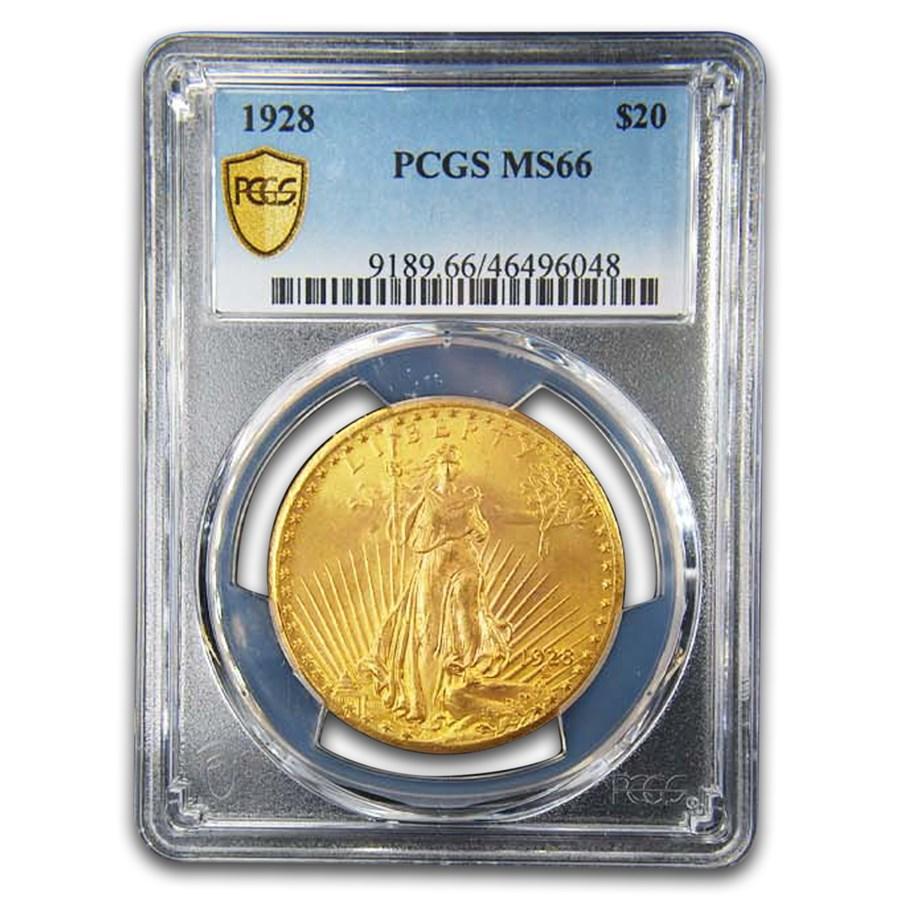 1928 $20 Saint-Gaudens Gold Double Eagle MS-66 PCGS