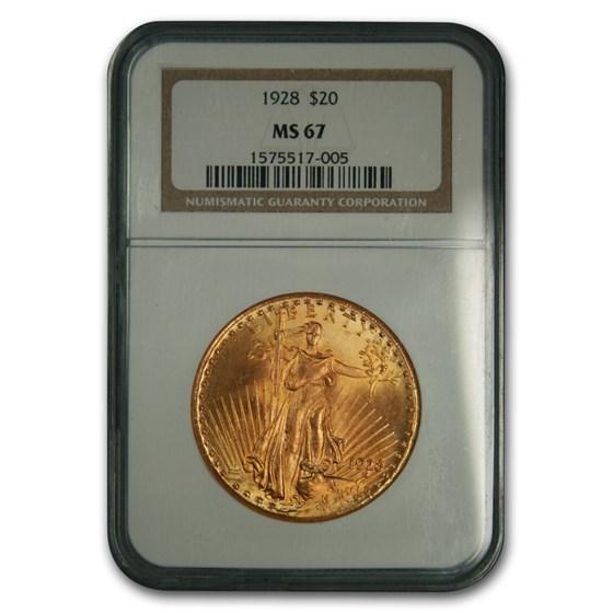 1928 $20 Saint-Gaudens Gold Double Eagle MS-67 NGC