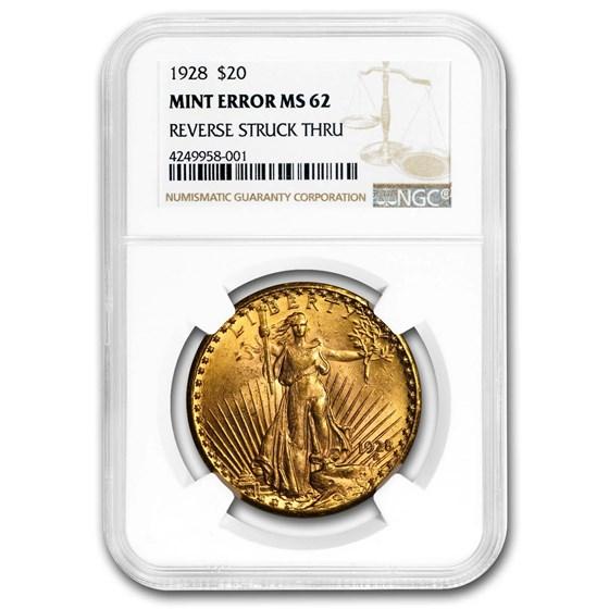 1928 $20 St. Gaudens Gold Dbl Eagle MS-62 NGC (Rev Struck Thru)